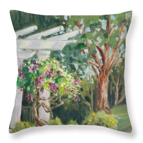 Landscape Throw Pillow featuring the painting Sunken Garden by Cathleen Larson