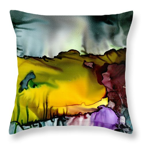 Abstract Throw Pillow featuring the mixed media Sunless Sea by Susan Kubes