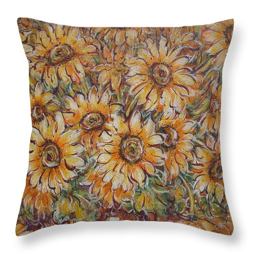 Flowers Throw Pillow featuring the painting Sunlight Bouquet. by Natalie Holland