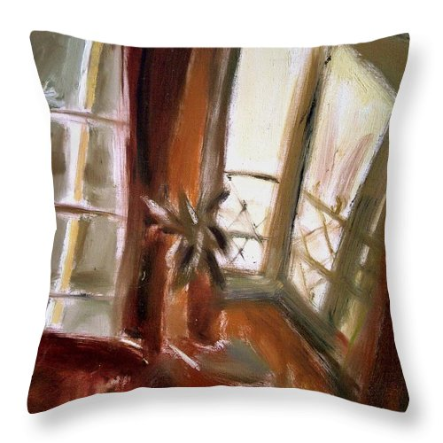 Dornberg Throw Pillow featuring the painting Sunlight From The Front Porch by Bob Dornberg