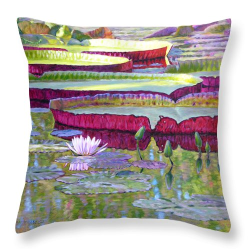 Lily Pond Throw Pillow featuring the painting Sunlight On Lily Pads by John Lautermilch