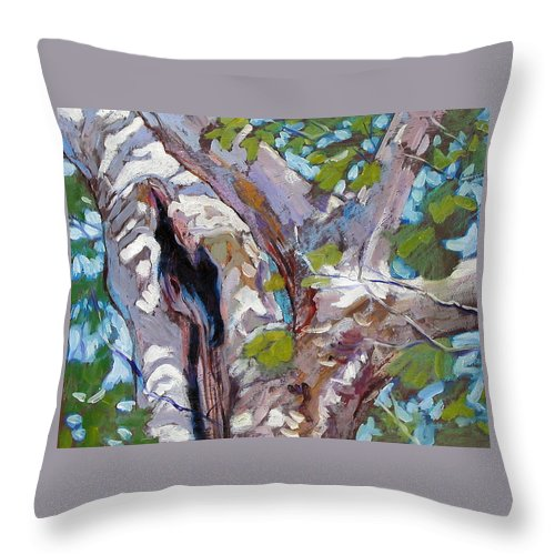 Tree Throw Pillow featuring the painting Sunlight On Sycamore by John Lautermilch