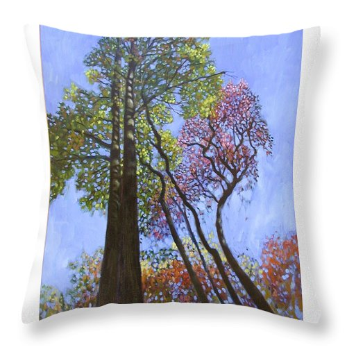 Fall Trees Highlighted By The Sun Throw Pillow featuring the painting Sunlight On Upper Branches by John Lautermilch