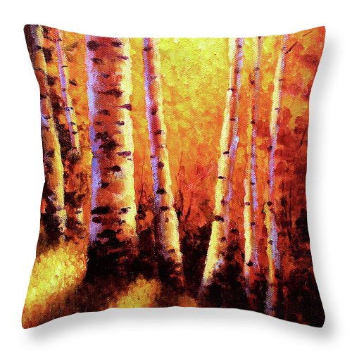 Sunlight Throw Pillow featuring the painting Sunlight Through The Aspens by David G Paul