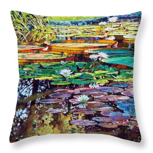 Sunlight Throw Pillow featuring the painting Sunlight To Shadows by John Lautermilch