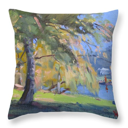 Sunlight Throw Pillow featuring the painting Sunlight by Ylli Haruni