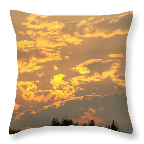 Sunset Throw Pillow featuring the photograph Sunlit Clouds Sunset Art Prints Gifts Orange Yellow Sunsets Baslee Troutman by Baslee Troutman