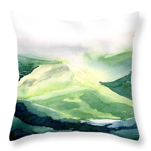 Landscape Throw Pillow featuring the painting Sunlit Mountain by Anil Nene