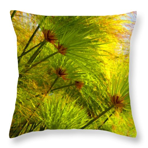 Landscape Throw Pillow featuring the painting Sunlit Paparus by Amy Vangsgard