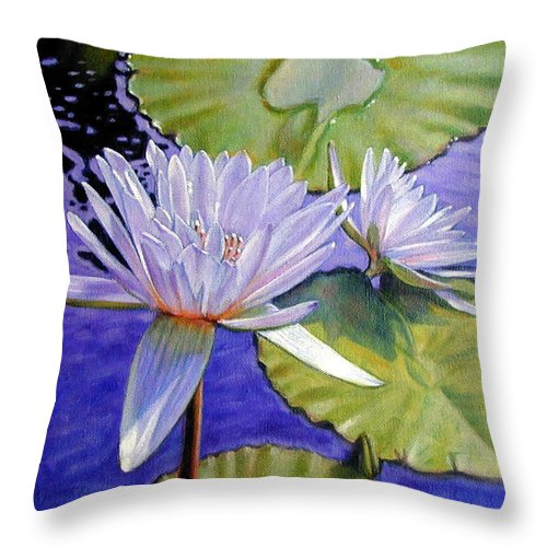 Water Lilies Throw Pillow featuring the painting Sunlit Petals by John Lautermilch