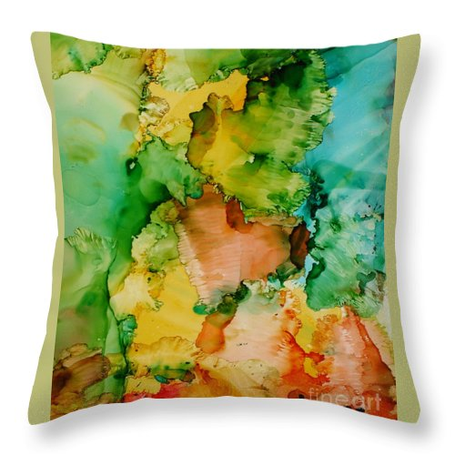 Abstract Throw Pillow featuring the painting Sunlit Reef by Susan Kubes