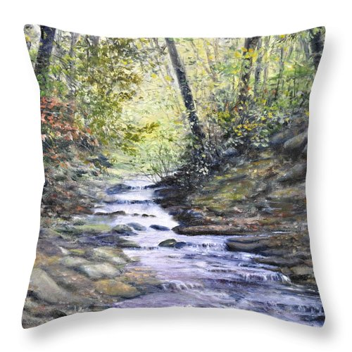 Nature Throw Pillow featuring the painting Sunlit Stream by Penny Neimiller