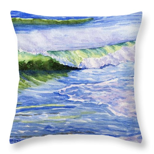 Seascape Throw Pillow featuring the painting Sunlit Surf by Sharon E Allen