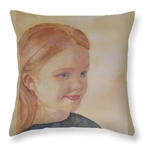 Girl Throw Pillow featuring the painting Sunnie Birdie by Jenny Armitage