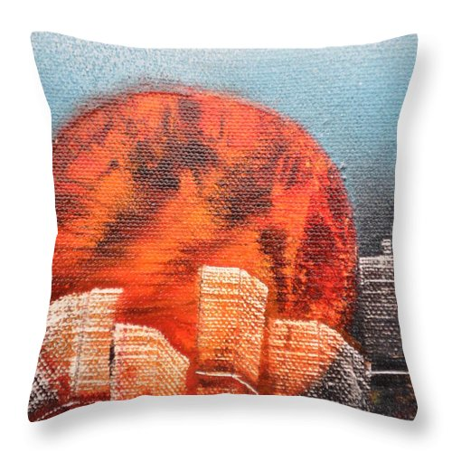 Sun Throw Pillow featuring the painting Sunny Buildings by Zack Anderson