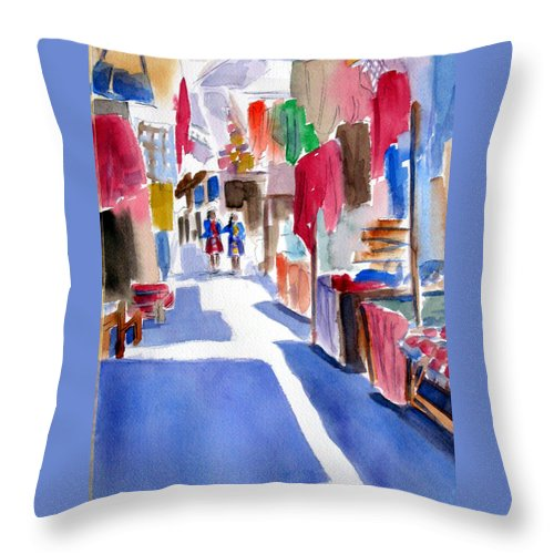 Market Throw Pillow featuring the painting Sunny Day At The Market by Marsha Elliott