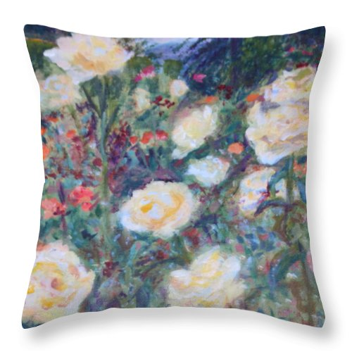 Quin Sweetman Throw Pillow featuring the painting Sunny Day At The Rose Garden by Quin Sweetman