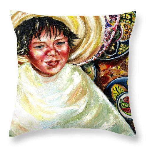 Child Throw Pillow featuring the painting Sunny Day by Hiroko Sakai