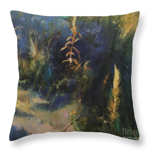 Lin Petershagen Throw Pillow featuring the painting Sunny Day by Lin Petershagen