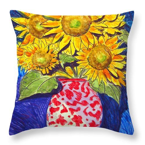 Sunflower Throw Pillow featuring the painting Sunny Disposition by Jean Blackmer