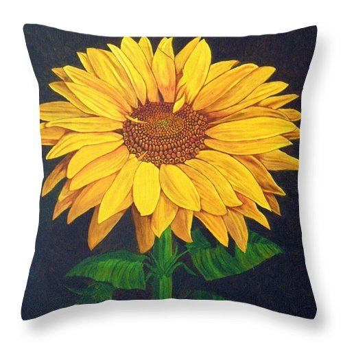 Sunflower Throw Pillow featuring the painting Sunny Flower by Brandy House