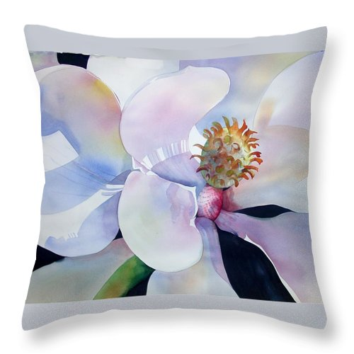 Floral Throw Pillow featuring the painting Sunny Magnolia by Marlene Gremillion