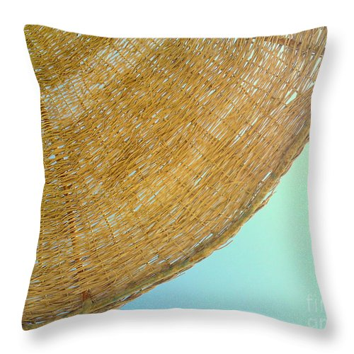 Umbrella Sun Sky Beach Blue Yellow Summer Egypt Throw Pillow featuring the photograph Sunny by Mina Milad