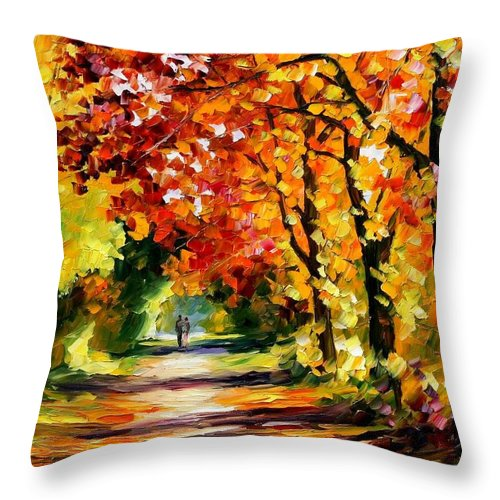 Afremov Throw Pillow featuring the painting Sunny Path by Leonid Afremov