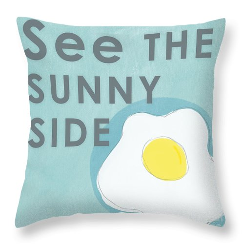 Egg Throw Pillow featuring the mixed media Sunny Side by Linda Woods