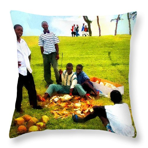 Africa Throw Pillow featuring the painting Sunny Sunday At The Park by RC DeWinter