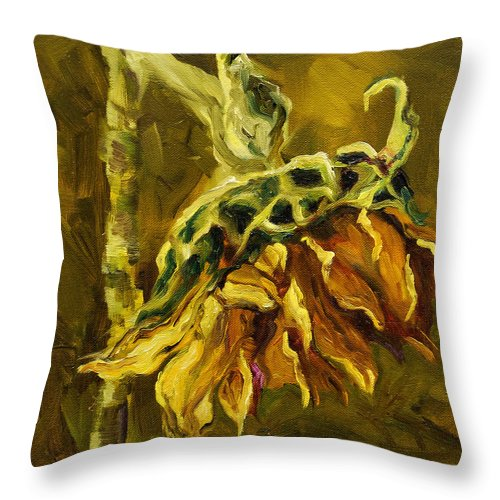 Floral Throw Pillow featuring the painting Sunny Sunflower by Diane Whitehead