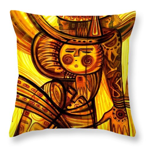 Expressionism Throw Pillow featuring the painting Sunny Warrior by Inga Vereshchagina