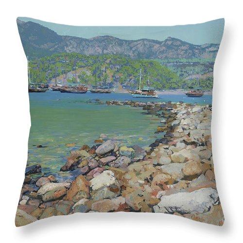 Sunny's Throw Pillow featuring the painting Sunny's Hurbor by Simon Kozhin