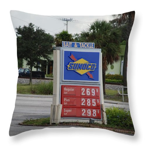Gas Station Throw Pillow featuring the photograph Sunoco Bait And Tackle by Rob Hans