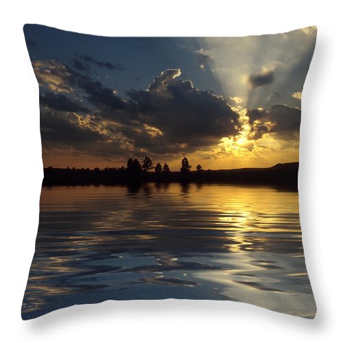 Sunset Throw Pillow featuring the photograph Sunray Sunset by Jerry McElroy