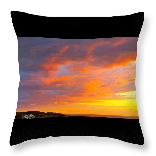 Red Throw Pillow featuring the photograph Sunrise And Clouds Over Pigeon Cove by Harriet Harding