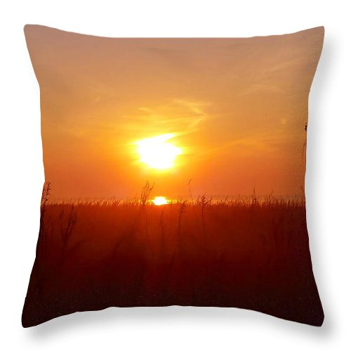 Sunrise Throw Pillow featuring the photograph Sunrise And Sea Oats by Gina Welch