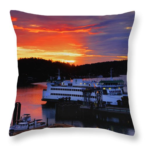 Friday Throw Pillow featuring the photograph Sunrise At Friday Harbor by Bob Stevens