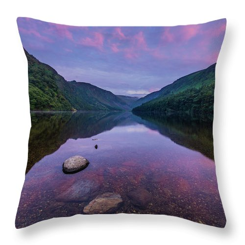 Sunrise Throw Pillow featuring the photograph Sunrise at Glendalough Upper Lake #1, County Wicklow, Ireland by Anthony Lawlor