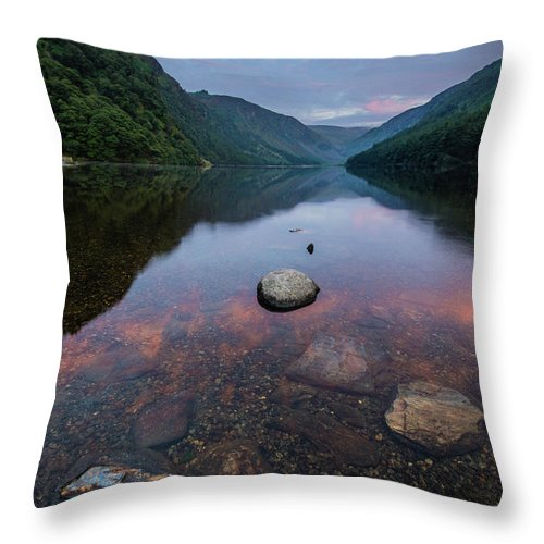 Sunrise Throw Pillow featuring the photograph Sunrise at Glendalough Upper Lake #2, County Wicklow, Ireland by Anthony Lawlor
