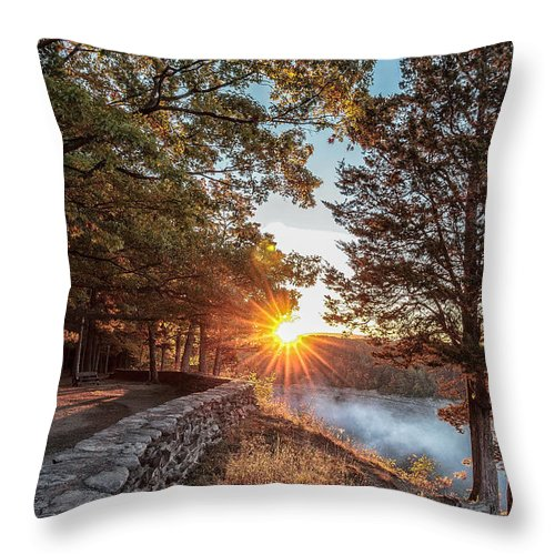 Sunrise Throw Pillow featuring the photograph Sunrise At Great Bend by Rod Best