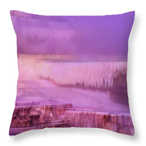 North America Throw Pillow featuring the photograph Sunrise At Minerva Springs Yellowstone National Park by Dave Welling