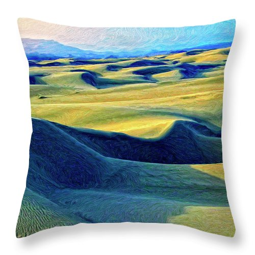 Sunrise At Oceano Sand Dunes Throw Pillow featuring the painting Sunrise At Oceano Sand Dunes by Dominic Piperata
