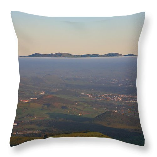 Fog Throw Pillow featuring the photograph Sunrise At Sao Miguel Island by Gaspar Avila
