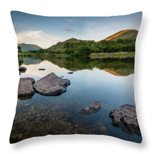 Lake District Throw Pillow featuring the photograph Sunrise at Ullswater, Lake District, North West England by Anthony Lawlor