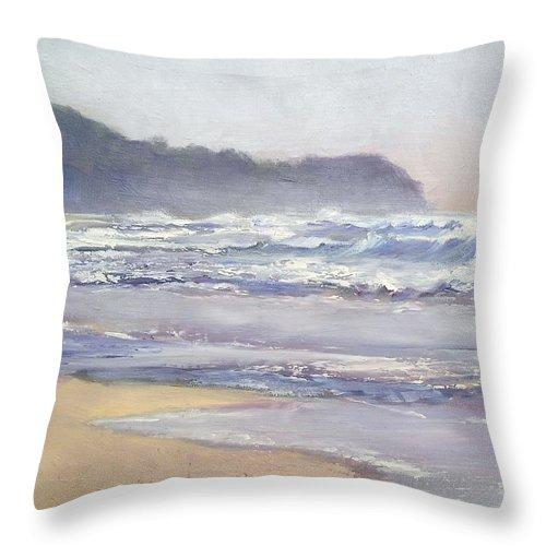 Sunrise Beach Throw Pillow featuring the painting Sunrise Beach Sunshine Coast Queensland Australia by Chris Hobel