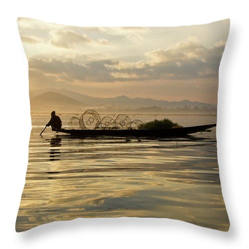 Asia Throw Pillow featuring the photograph Sunrise Fisherman by Michele Burgess