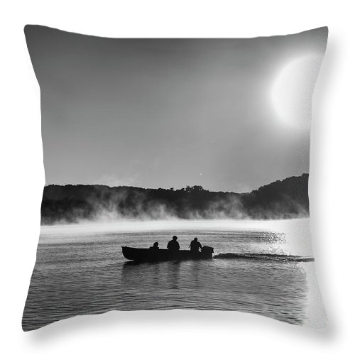 Lake Throw Pillow featuring the photograph Sunrise Fishing 2 by Dennis Hedberg