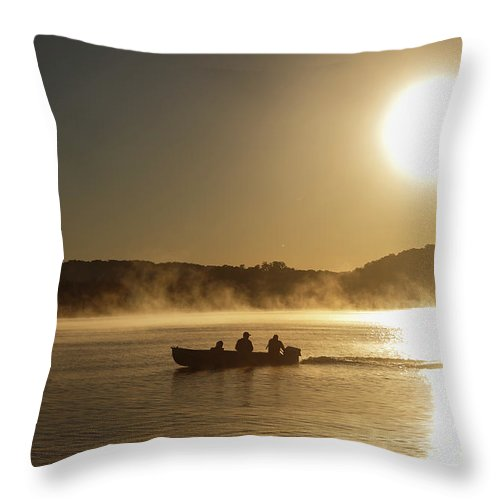 Lake Throw Pillow featuring the photograph Sunrise Fishing by Dennis Hedberg