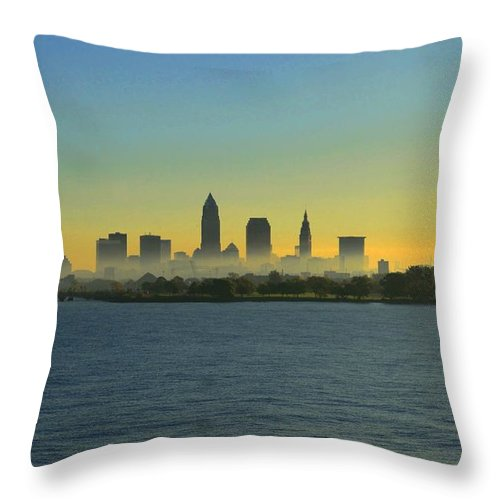 Destination Throw Pillow featuring the photograph Sunrise In Cleveland Ohio by Douglas Sacha